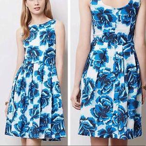 Anthropologie Blue Floral Dress